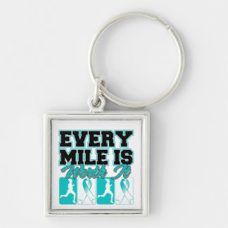 Cervical Cancer Every Mile is Worth It Silver-Colored Square Keychain