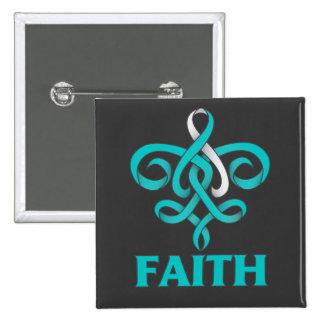 Cervical Cancer Faith Fleur de Lis Ribbon 2 Inch Square Button