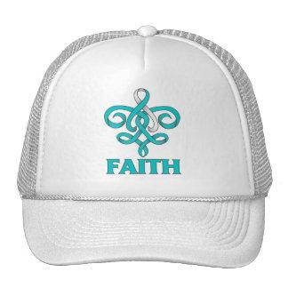 Cervical Cancer Faith Fleur de Lis Ribbon Mesh Hats