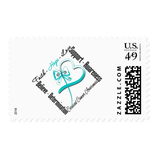Cervical Cancer Faith Hope Love Butterfly Stamps