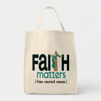 Cervical Cancer Faith Matters Cross 1 Grocery Tote Bag