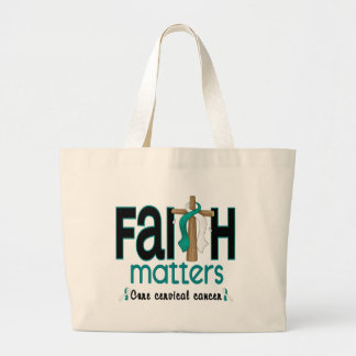 Cervical Cancer Faith Matters Cross 1 Large Tote Bag