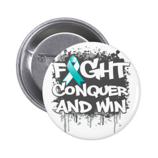 Cervical Cancer Fight Conquer and Win Pinback Button