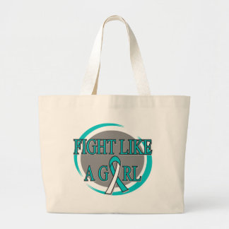 Cervical Cancer Fight Like A Girl Circular Jumbo Tote Bag