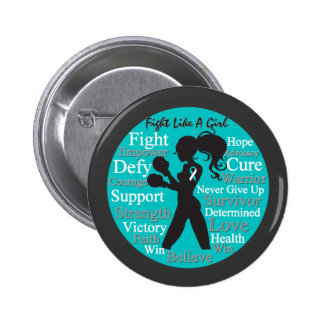 Cervical Cancer Fight Like A Girl Collage Pinback Buttons