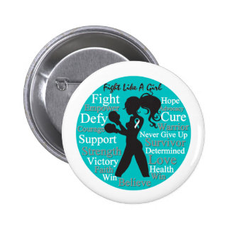 Cervical Cancer Fight Like A Girl Collage Buttons