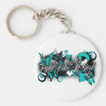 Cervical Cancer Fight Like A Girl Grunge Butterfly Keychains