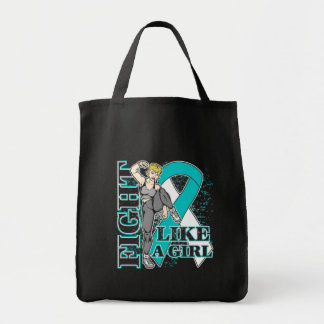 Cervical Cancer Fight Like A Girl Kickin Butt Grocery Tote Bag
