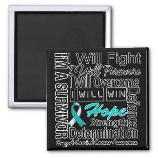 Cervical Cancer Fight Persevere Overcome Win 2 Inch Square Magnet