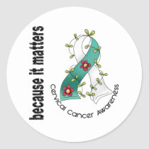 Cervical Cancer Flower Ribbon 3 Classic Round Sticker