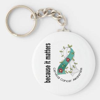 Cervical Cancer Flower Ribbon 3 Keychain