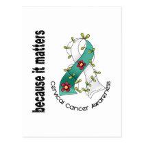 Cervical Cancer Flower Ribbon 3 Postcard