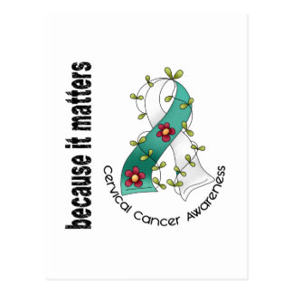 Cervical Cancer Flower Ribbon 3 Postcard