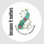 Cervical Cancer Flower Ribbon 3 Round Stickers