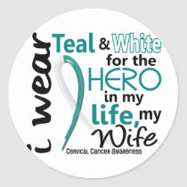 Cervical Cancer For My Hero My Wife 2 Classic Round Sticker
