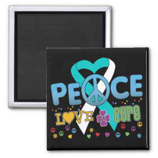Cervical Cancer Groovy Peace Love Cure 2 Inch Square Magnet