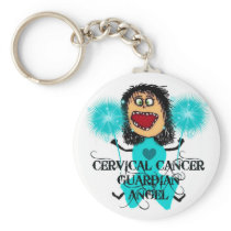 Cervical Cancer Guardian Angel Keychain