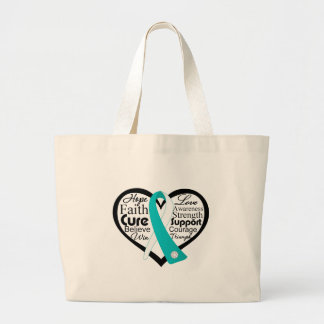 Cervical Cancer Heart Ribbon Collage Jumbo Tote Bag