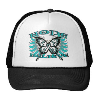 Cervical Cancer Hope Believe Butterfly Mesh Hat