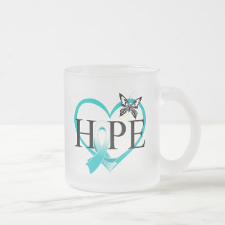 Cervical Cancer Hope Butterfly Heart Décor 10 Oz Frosted Glass Coffee Mug