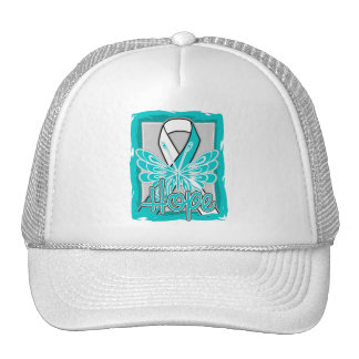Cervical Cancer Hope Butterfly Portrait Mesh Hats