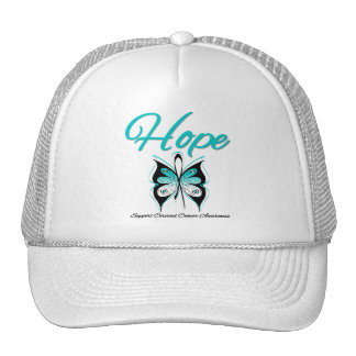 Cervical Cancer Hope Butterfly Ribbon Mesh Hats