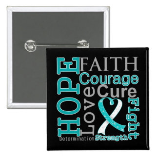 Cervical Cancer Hope Faith Motto Pinback Buttons