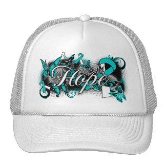 Cervical Cancer Hope Garden Ribbon Trucker Hats