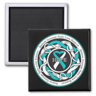 Cervical Cancer Hope Intertwined Ribbon Fridge Magnets