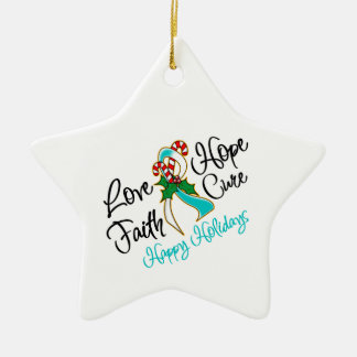 Cervical Cancer Hope Love Cure Happy Holidays Double-Sided Star Ceramic Christmas Ornament