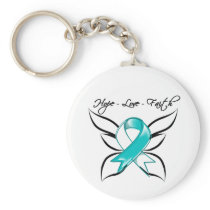 Cervical Cancer Hope Love Faith Keychain