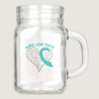 Cervical Cancer Hope Love Faith Mason Jar