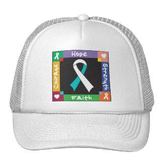 Cervical Cancer Hope Strength Faith Trucker Hats