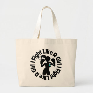 Cervical Cancer I Fight Like A Girl Pose Jumbo Tote Bag