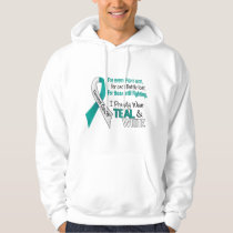 Cervical Cancer I Proudly Wear Teal and White 1 Hoodie