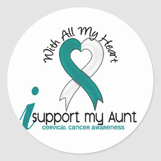 Cervical Cancer I Support My Aunt Classic Round Sticker