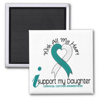 Cervical Cancer I Support My Daughter 2 Inch Square Magnet