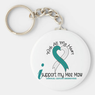 Cervical Cancer I Support My Mee Maw Basic Round Button Keychain