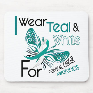 CERVICAL CANCER I Wear Teal and White Awareness 45 Mouse Pad