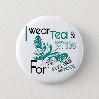 CERVICAL CANCER I Wear Teal and White Awareness 45 Pinback Button