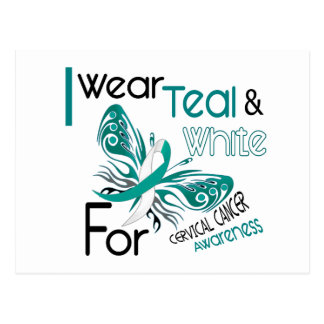 CERVICAL CANCER I Wear Teal and White Awareness 45 Postcard