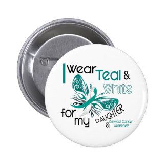 CERVICAL CANCER I Wear Teal and White Daughter 45 2 Inch Round Button