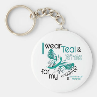 CERVICAL CANCER I Wear Teal and White Daughter 45 Key Chain