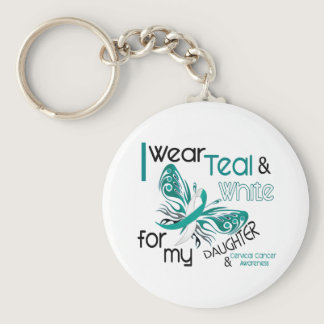 CERVICAL CANCER I Wear Teal and White Daughter 45 Keychain