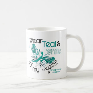 CERVICAL CANCER I Wear Teal and White Daughter 45 Classic White Coffee Mug