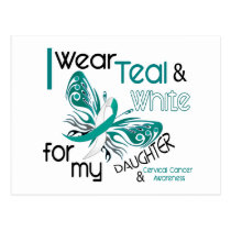 CERVICAL CANCER I Wear Teal and White Daughter 45 Postcard