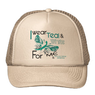 CERVICAL CANCER I Wear Teal and White For ME 45 Mesh Hats