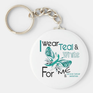 CERVICAL CANCER I Wear Teal and White For ME 45 Keychain