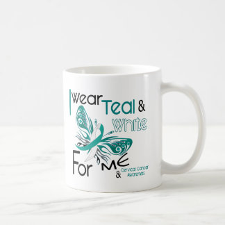 CERVICAL CANCER I Wear Teal and White For ME 45 Classic White Coffee Mug
