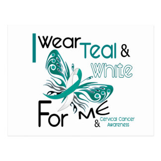 CERVICAL CANCER I Wear Teal and White For ME 45 Postcard